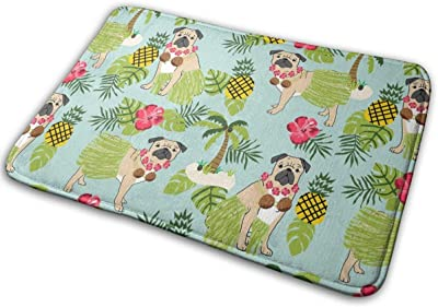 "Pug Hula Tropical Hawaii Islands Dog Breed Blue_19516 Doormat Entrance Mat Floor Mat Rug Indoor/Outdoor/Front Door/Bathroom Mats Rubber Non Slip 23.6"" X 15.8"""