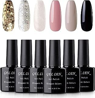 Gellen UV Gel Polish 6 Colors Set - Golden Silver Sparkle White Shimmering Pure Gray Black