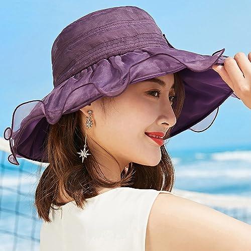 Chapeau YANFEI Visière Solaire crème Solaire Anti-UV Pliable Vacances Plage de Plage (Couleur   Violet)