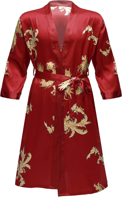 easyforever Mens Dragon Print Satin Sleepwear Kimono Bathrobe with Shorts Pajama Sets Loungewear