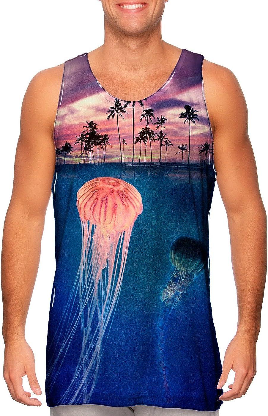 AnimalShirtsUSA- Jellyfish Sky Palm Tree San Cheap sale Francisco Mall Mens -Tshirt- Tank Top