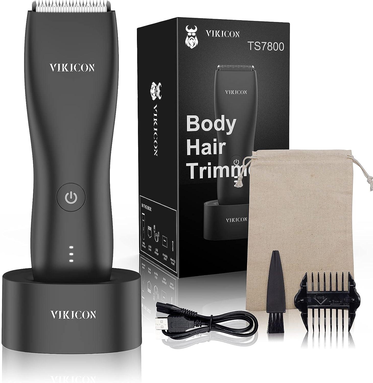 VIKICON Bodygroom - Maquinilla de afeitar eléctrica para hombre, recortadora íntima para la ingle y el vello púbico con base de carga USB, resistente al agua, afeitadora en seco y seco