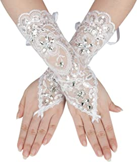Gauss Kevin Fingerless Lace Gloves UV Protection Wrist Length Prom Party Driving Wedding Gloves
