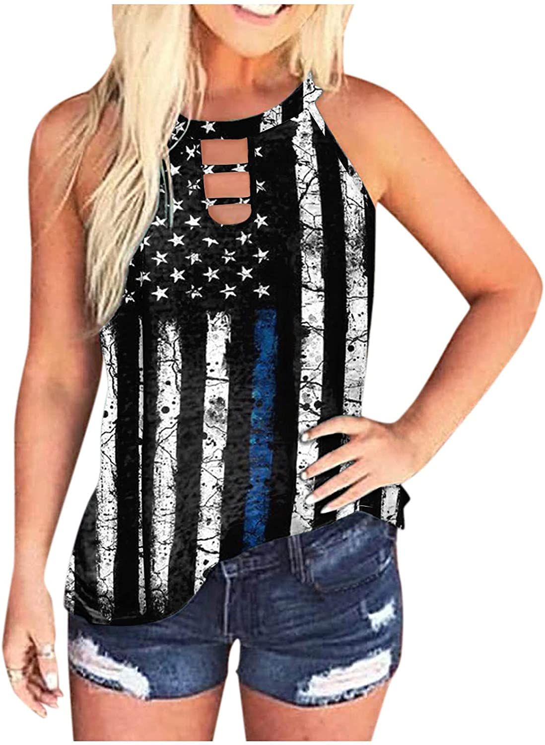 Summer Tops for Women 2021 Casual,Womens Tie Dye Workout Tank Tops Halter Neck Cut Out Summer Tees Shirts Blouses