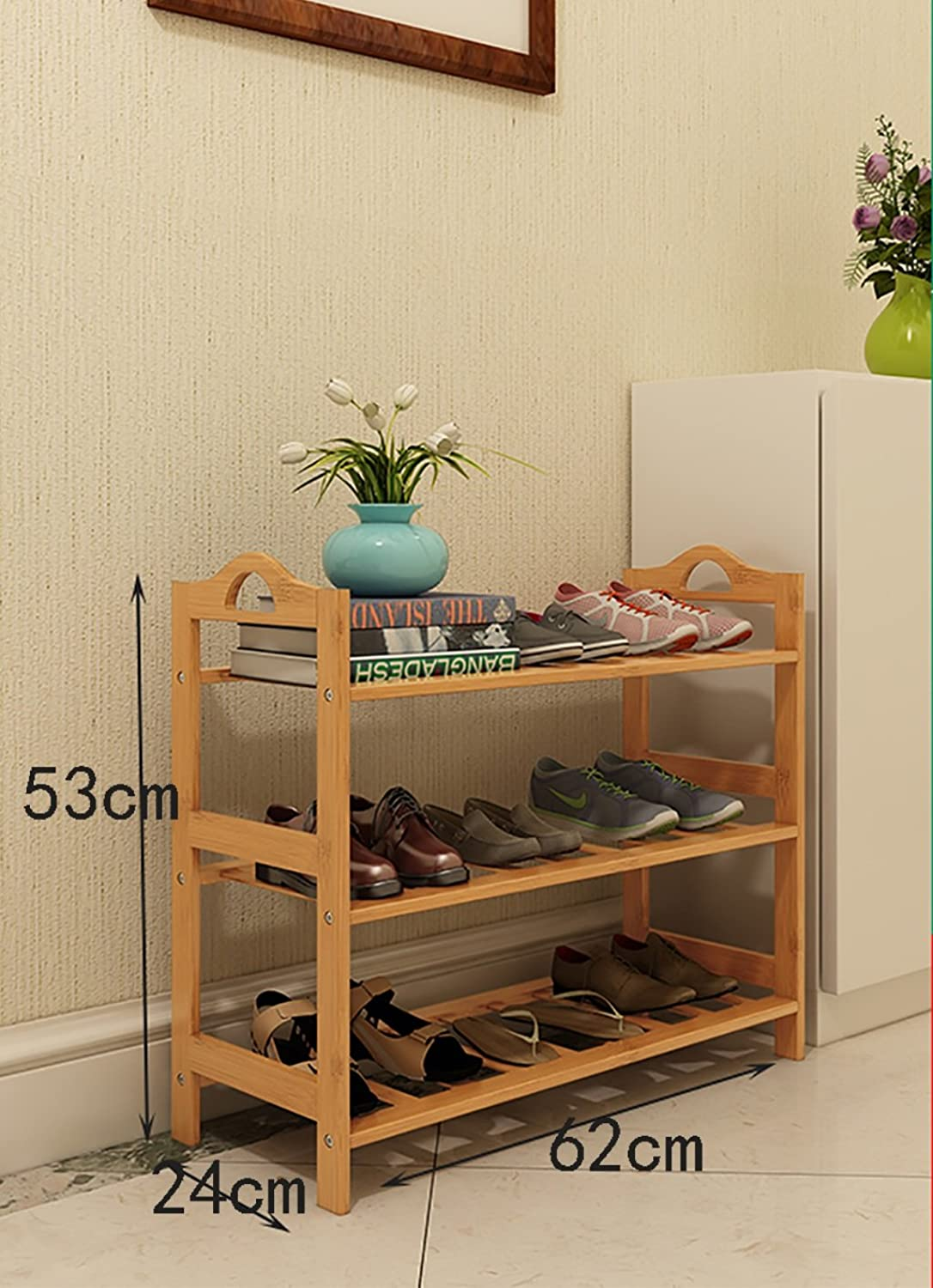 shoes Bench Organizing Rack shoes Rack Bamboo Shelves Multi - Layer dust - Proof Solid Wood shoes Rack Assembly Economical Shelves Home Living Room shoes Cabinet (color   A, Size   62cm)