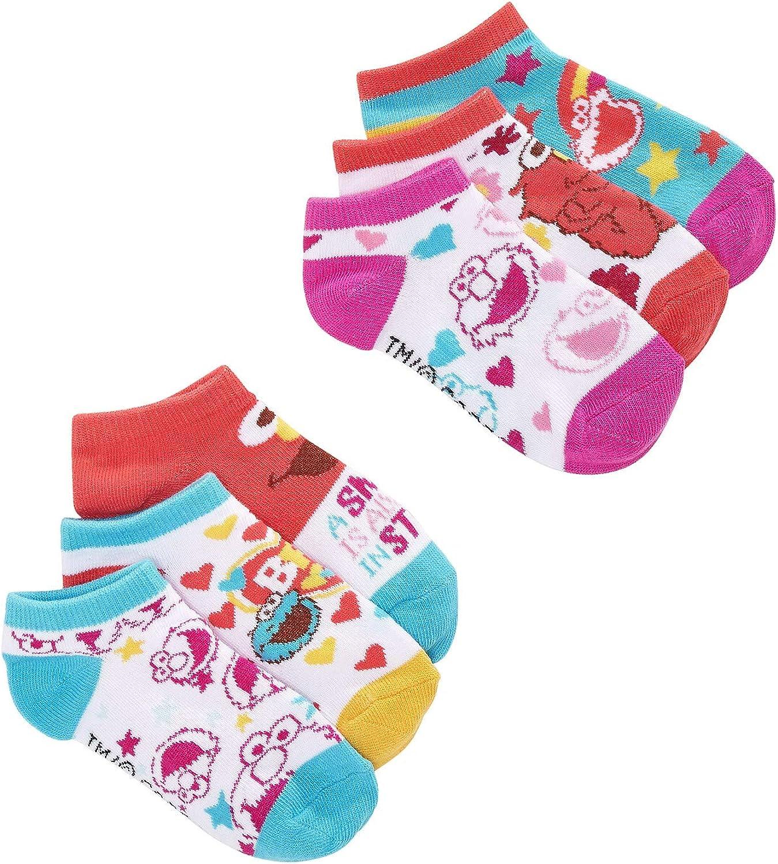 Sesame Street Toddler Girl's 6 Pack Low Cut Character Socks, Sock Size 4-6 (Shoe Size 7-10)