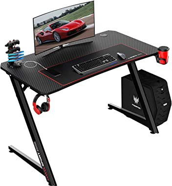 BOSSIN Gaming Desk Z-Shaped PC Computer Desk with Free Mouse pad (44inch, Black)