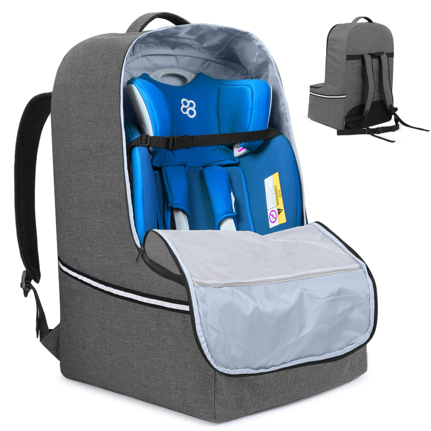 Teamoy Car Seat Travel Bag, Car Seat Gate Check Bag with Top Handle and Reflective Tapes, Infant Carseat Carrier Covers for Airplane, Gray