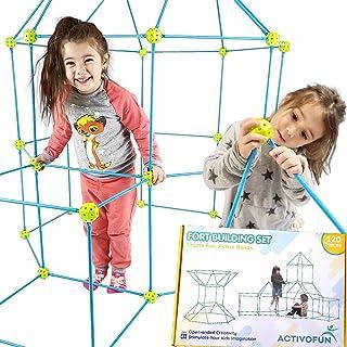 Kids Fort Building Kit for Kids 120PC - Ultimate Fort Builder Kit, Click in Place, 75 Poles, 45 Balls Build a Fort Magic -...