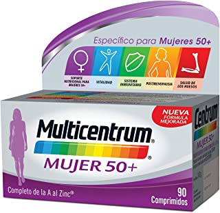 Multicentrum Mujer 50+ Complemento Alimenticio Multivitaminas con 13 Vitaminas y 11 Minerales, Sin Gluten, 90 Comprimidos