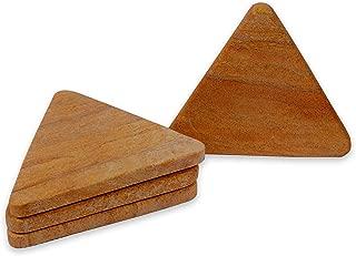 Ecstassy Handmade Geometrical shaped coasters   Stone Coaster Set   Dining Table Coaster  Decorative Sand stone Cocktail Coasters   Set of 4   Wine Coaster   Sandstone Coaster