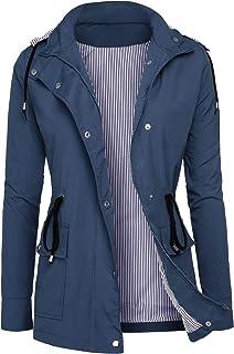 DOSWODE Raincoats Women Waterproof Rain Jackets Detachable Hooded Striped Lined Windbreaker for Women