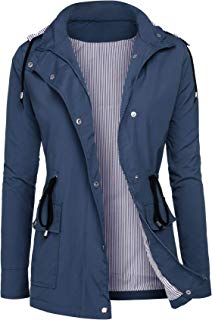 DOSWODE Raincoats Women Waterproof Rain Jackets Detachable Hooded Striped Lined Windbreaker for Women