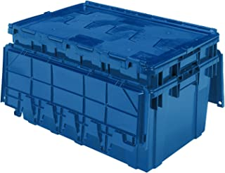 Buckhorn AR2717120209000 Attached Lid Flip Top Storage and Distribution Plastic Tote, 27-Inch x 17-Inch x 12-Inch, Blue