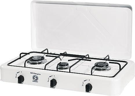 Orbegozo FO 3450 - Hornillo a gas, gas butano o propano, encendido piezoeléctrico, tres quemadores de distinto tamaño, uso exterior, 750-1400 W