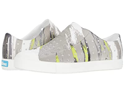 Native Kids Shoes Jefferson Print (Little Kid) (Shell White/Shell White/Green Multi Splatter) Boys Shoes