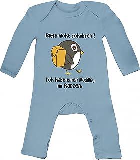 ShirtStreet Baby Strampler Langarm Schlafanzug Jungen Mädchen Pinguin - Bitte nicht schubsen