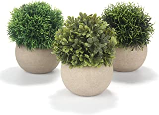 Mr.Bom Artifical Plants Round Grass Set of 3 with Pot, 9X15 cm mini Indoor Outoor Fake Plants Ideal for Office Desk, Bedro...