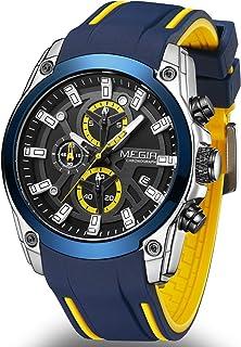 MEGIR Men's Sport Quartz Watches with Chronograph Luminous Auto Calendar Waterproof Function Silicone Strap