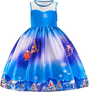 2-9Y Baby Girls Christmas Dress Toddler Sleeveless Froal Snowflake Santa Swing Dress Xmas Eve Holiday Party Gowns