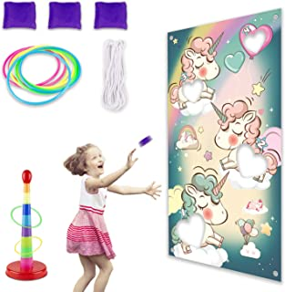 Hiverst Carnival Toss Games with 3 Bean Bags for Kids Party, Indoor Circus Ring Toss Game Set, Tossing Activities Bundle for Children Family Adults Outdoor Group Yard Lawn Game (Unicorn)