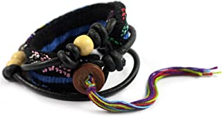 NOVICA Black Leather and Cotton Rainbow Strand Wrap Bracelet with Wood Beads 'Santiago Night', 22.5""