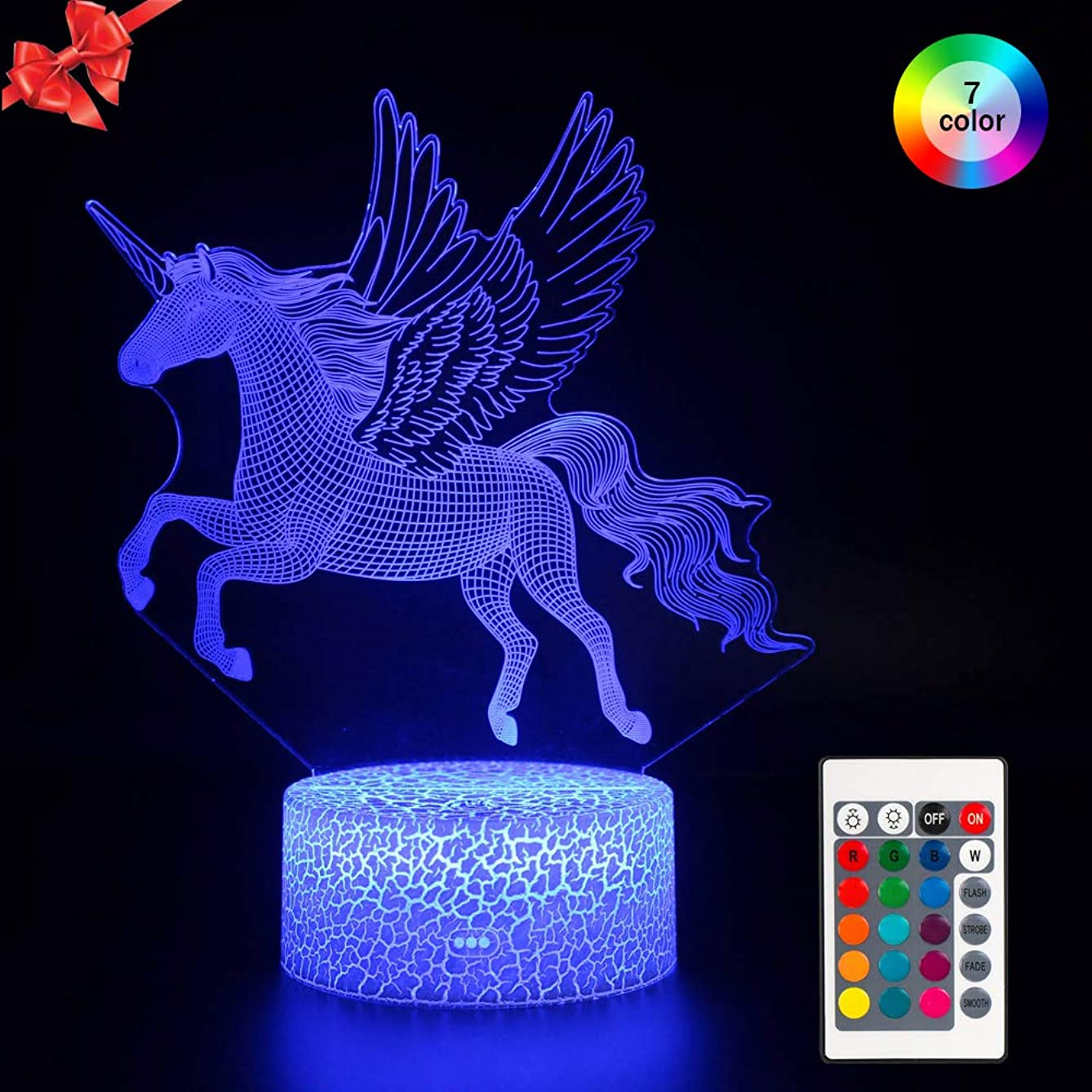 Unicorn Night Light for Kids, Dimmable Bedside Lamp Nightlight 7 Colors, Touch &Remote Control USB & Battery Powered Flying Unicorn Toys Birthday Gift for Men Women Boys Girls