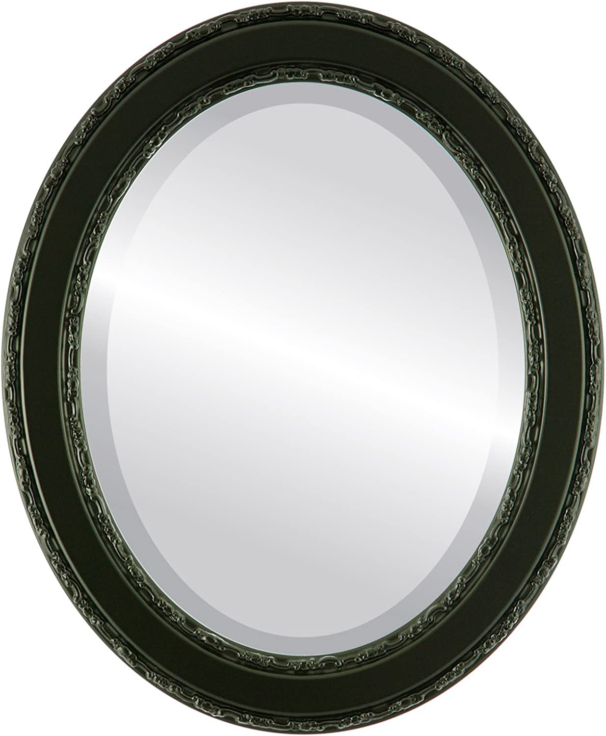 Oval Beveled Wall Mirror for Home Decor - Monticello Style - Matte Black - 16x20 Outside Dimensions