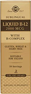 Solgar Sublingual Liquid B-12 2000 mcg with B-Complex, Suitable for Vegans, 59 Servings, 2 Fluid Ounces