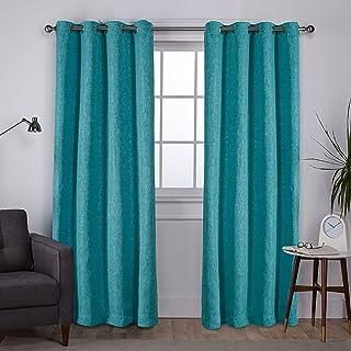 Exclusive Home Curtains Vesta Woven Blackout Grommet Top Panel Pair, Teal, 52x96, 2 Piece