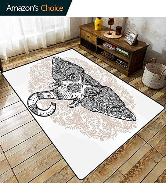 Bigdatastore Elephant Checkered Children S Software Games Floral Abstract Backdrop With Animal Head On Print Fashionable High Class Living Dinning Room 6 X 9