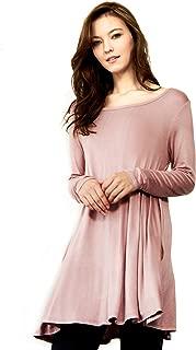 Cameo & Myth Women's Sleeve Easy Wear Jersey Tunic Dress with Side Pocket