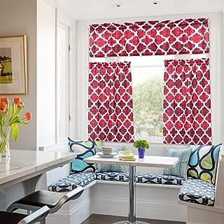 Moroccan Kitchen Curtains, Valances and Tiers 3 pcs Set, Linen Look Geometric Trellis Print Bathroom Curtains/Cafe Small Window Curtain Set Beige Quatrefoil Kitchen Curtain, Rod Pocket, 36