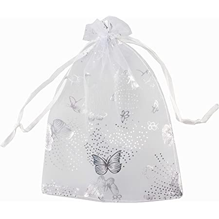 Christening Wedding 10 pieces Jewelry Pouch 5 x 8 x 2.5 First Communion Favor White Gusseted Organza Drawstring Favor Bags Baptism