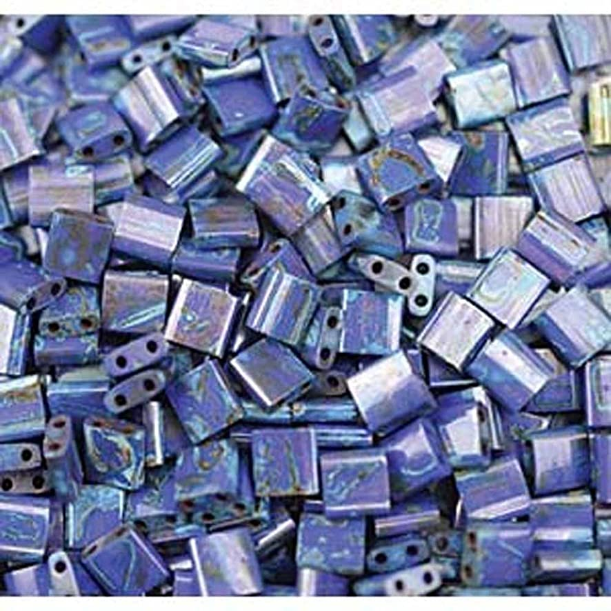 Picasso Cobalt Blue Tila Beads 7.2 Gram Tube By Miyuki Are a 2 Hole Flat Square Seed Bead 5x5mm 1.9mm Thick with .8mm Holes