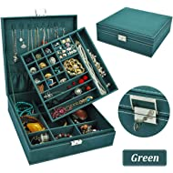 QBeel Jewelry Box for Women, Double Layer 36 Compartments Necklace Jewelry Organizer with Lock...