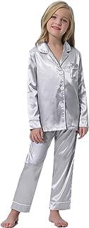 Hawiton Pijama para niña, Pijama de Saten para 4-16 años, Manga Larga Camiseta con Cuello con Muesca y pantalón Largo con ...