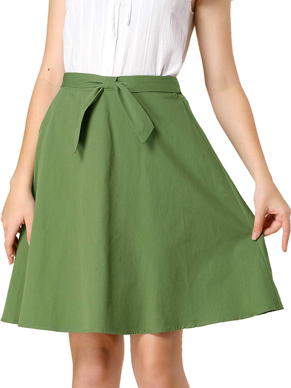 Allegra K Women's Cotton High Waist Skirt Bow Tie Casual Work A-line Skirts