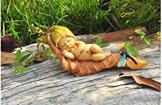 New Miniature Mini Dollhouse FAIRY GARDEN Accessories - Sleeping Fairy Baby With Dragonfly - Supplies Ac.