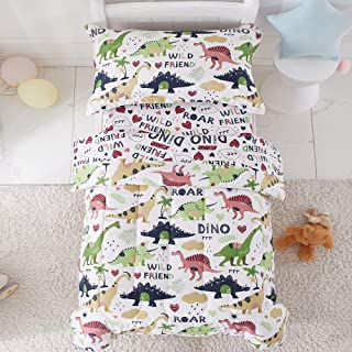 Joyreap 4 Piece Toddler Bedding Set, Dinosaur Printed, Includes Quilted Comforter, Fitted Sheet, Top Sheet, and Pillow Case for Boys(White, Twin)