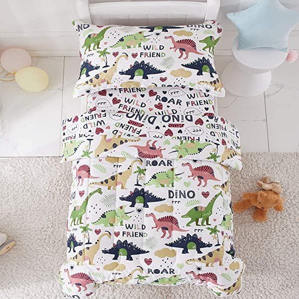 Joyreap 4 Piece Toddler Bedding Set Dinosaur Printed On White Includes Quilted Comforter Fitted Sheet Top Sheet And Pillow Case For Boys