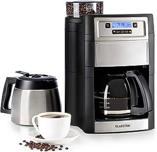 Klarstein Aromatica II Duo máquina de café con molinillo conico - Máquina de café con filtro, 1000 W, Jarra de vidrio 1,25 litros, Programable 24 horas, Filtro de carbón activo permanente, Plateado