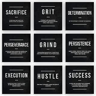 9X Motivational Wall Art Office Decor Canvas Prints Entrepreneur Bundle Set 9 Piece Inspirational Definition Verb Noun Modern Art (9X - 8
