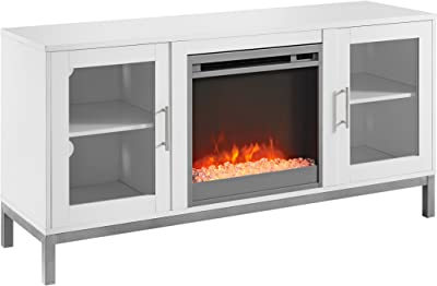 Walker Edison Griffith Contemporary Double Glass Door Fireplace TV Stand, 52 Inch, White