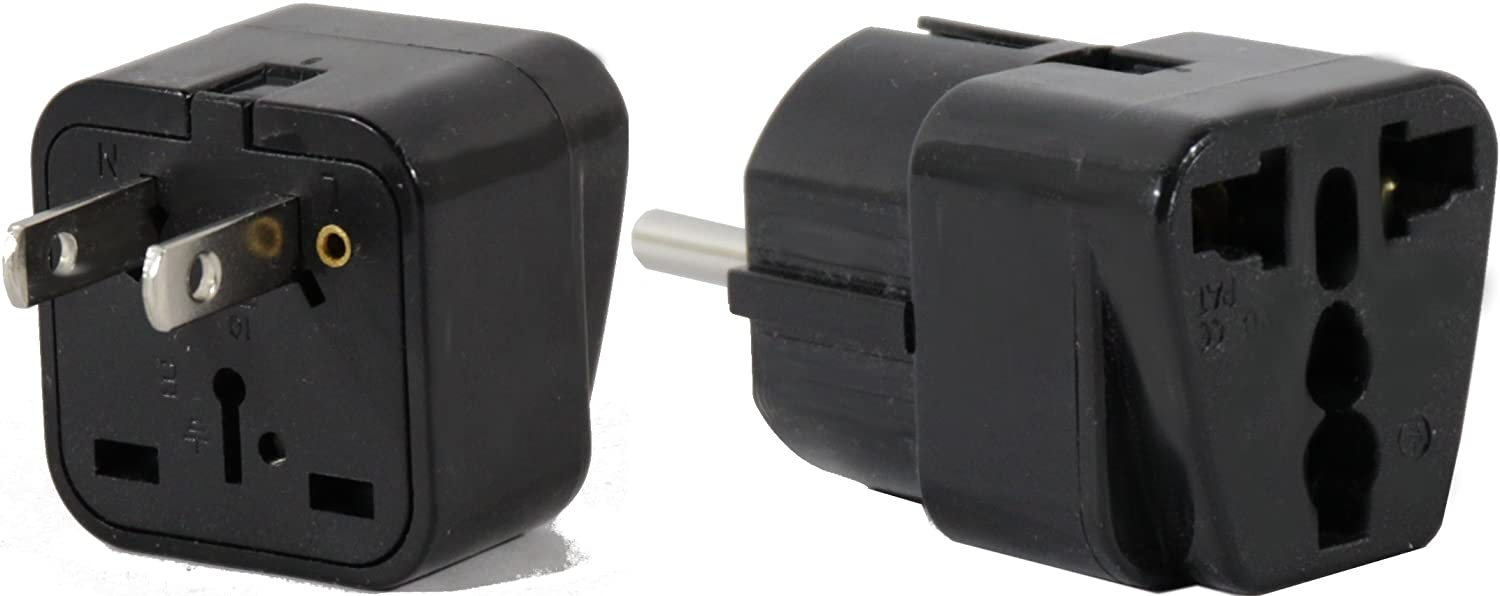 Peru Travel Adapter Plug for USA/Universal to South America Type A & E (C/F) AC Power Plugs Pack of 2