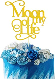 Starsgarden Gold Glitter Moon of my life Cake Topper - Baby Shower Anniversary Wedding Birthday Party Decoration Sign