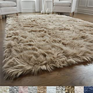 Gorilla Grip Original Premium Faux Fur Area Rug, 4 FT x 6 FT, Softest, Luxurious Carpet Rugs for Bedroom, Living Room, Luxury Bed Side Plush Carpets, Rectangle, Beige