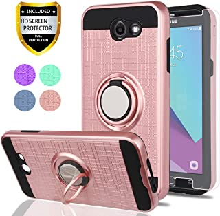 Galaxy J3 Emerge/J3 Eclipse/J3 Prime/J3 Mission/Luna Pro/Sol 2/Express Prime 2 Case with HD Screen Protector,YmhxcY 360 Degree Rotating Ring & Bracket Back Cover for Samsung J3 2017-ZH Rose Gold