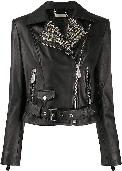 Chiodo donna philipp plein luxury fashion donna s20cwlb0664ple010n02 nero pelle giacca outerwear | ss21 B08GBCGXB5