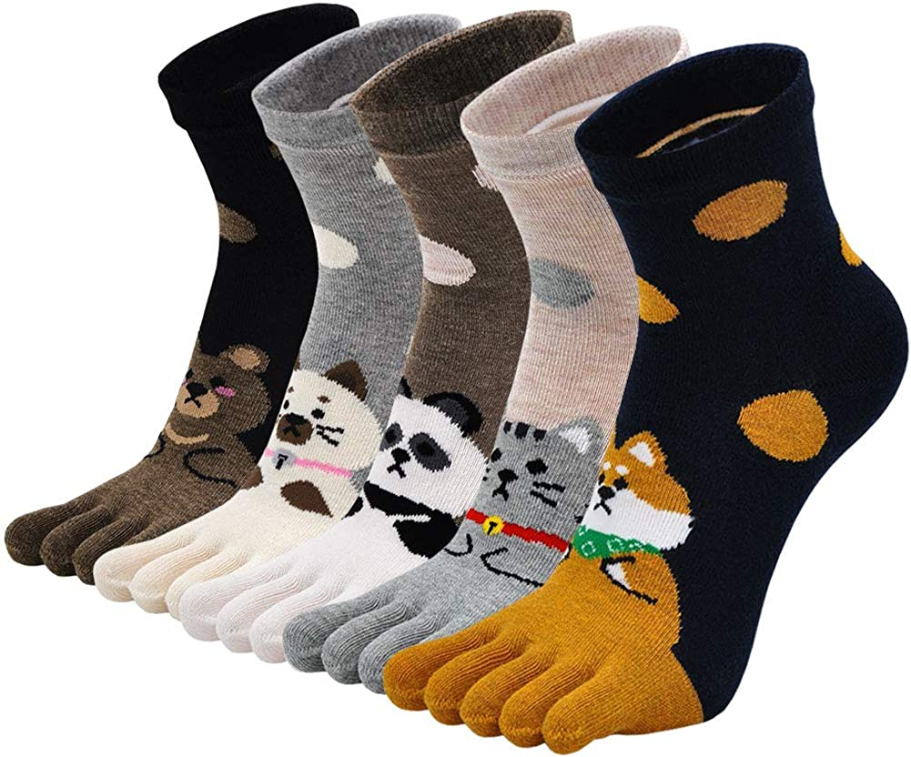 Womens Toe Socks Cotton Five Finger Colo Animal Cute It is Spring new work one after another very popular